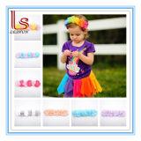 Los niños de la moda tocado 6 flores Rainbow diadema de la banda de cabello del bebé.