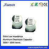 condensador electrolítico de baja impedancia de la viruta SMD 105c de 1000UF 6.3V