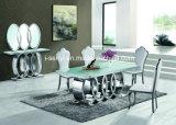 Tabella pranzante superiore dell'acciaio inossidabile di vetro Tempered/della parte superiore di marmo moderna