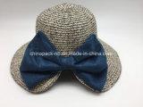 BowknotのFoldableわら浜のバケツの帽子の女性のフロッピーペーパー麦わら帽子