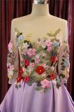 Purpurrote lange Hülsen-Blumen-Satin-Abschlussball-Partei-Abend-Kleider