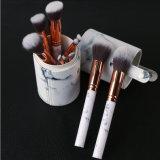 jogo de escova 10PCS cosmético de mármore com caixa do cilindro
