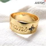 クリスマスのための18K金の黒の石の彫版の文字の女性宝石類のリング