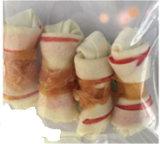 Nudo rojo del cuero crudo trenzado por el alimento de perro de la alta calidad de Chicken