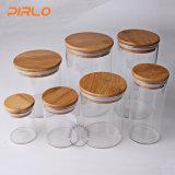 (90ml 170ml 300ml 400ml 500ml600ml800ml) choc en verre avec le couvercle en bois en bambou de joint en caoutchouc pour la mémoire de nourriture d'épice