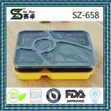 Contenitore di alimento a gettare della ghiottoneria dello scompartimento di Palstic 5 con il coperchio chiuso ermeticamente (658)