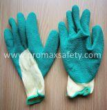 3/4のしわの乳液はグリッパー作業手袋に塗った