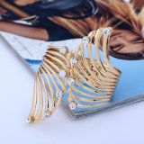 Pulsera con bisagras abierta del pun¢o de la pulsera del metal del diamante del ala del ángulo de la manera