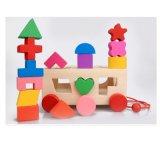 Montessori scherzt hölzerner Gegenkraft-Auto-Kasten der Geometrie-3D Ausbildungs-Block-Spielzeug