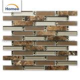 Venta caliente la decoración del hogar fábrica de vidrio marrón elegante mosaico de piedra
