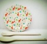 Placa de bambú natural de la fibra del servicio de mesa biodegradable irrompible de la etiqueta