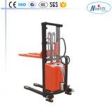 1 Ton Semi Forklift Electric Palletstacker Gebruikt in Pakhuis