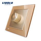 Livolo endureció el interruptor estándar BRITÁNICO Vl-W291g-11/12/13 del amortiguador de la perilla del vidrio