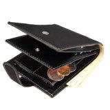 Повседневный Tri-Fold черного цвета из натуральной кожи крупного рогатого скота в минималистском стиле Zip мужская Wallet с монеты прорезь