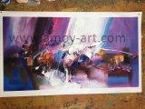 Arte nordica di colore viola astratto della pittura a olio su tela di canapa