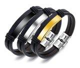 Braccialetti punk di modo di fascino del nero del braccialetto degli uomini dei monili degli uomini del braccialetto del cuoio dell'acciaio inossidabile dei braccialetti & dei braccialetti