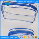 Sacchetto di plastica della maniglia del PVC della radura cosmetica su ordinazione del pacchetto con la chiusura lampo