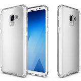 Elegante e ultra armadura de protecção acrílico transparente caso telefone + pára-choques TPU caso para a Samsung Galaxy A8 2018