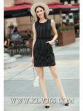 Новые женщины платья весны способа Striped безрукавный тонкое платье