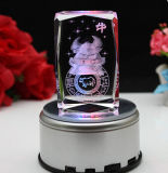 Crystal Galss Cube com luz LED Animal gravura a laser 3D