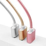 Cable 2017 de datos trenzado de nylon del USB de la promoción para el iPhone 4