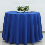 白いリネンジャカードポリエステル円形のテーブルクロス
