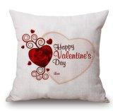 Het Katoenen van de Dag van gelukkige Valentijnskaarten Linnen werpt de Dekking van het Kussen van het Hoofdkussen (35C0230)