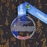 Пользовательский жесткий эмаль медаль с блестящими серебристое покрытие