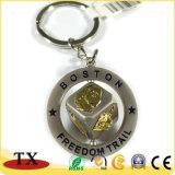Liga de zinco metálico rotativo ouro chaveiro