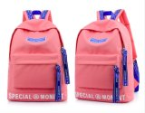 普及した新しいデザインモモ赤い学生のバックパックの大きいスペース