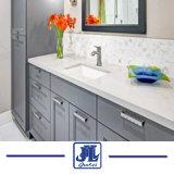 Sólido branco cor várias bancadas de quartzo com dissipador único e lajes de quartzo para decoração de interiores