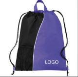 Fördernder kundenspezifischer PolyesterDrawstringgyp-Beutel mit seitlicher Tasche für Flasche