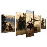 La toile HD estampe le cadre d'art de mur de peintures pour le décor de maison de salle de séjour les affiches animales de cerfs communs d'illustrations d'élans de Bull de montagne de 5 parties