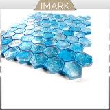 Mosaico di vetro blu di vendita del pavone caldo di esagono per le mattonelle della parete della stanza da bagno