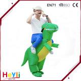 Высокое качество новинка смешные надувной костюм динозавров для группы