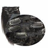clip nera delicatamente naturale 7PCS nell'estensione diritta crespa dei capelli umani del Virgin