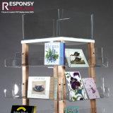 Hölzerner Fußboden-Regal-Spinner mit Pocket Zeichen-acrylsauervorsatz