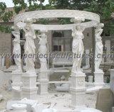 Gazebo de pedra em mármore com topo de ferro fundido (GR034)
