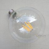 E27 LED 필라멘트 지구 G95 4W 6W는 백색 필라멘트 LED 램프를 데운다