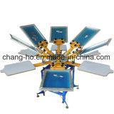 6 t-셔츠를 위한 기계를 인쇄하는 색깔 6 역 수동 스크린