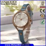 Reloj del regalo del cuarzo de la correa de cuero del ODM del OEM de la manera para las mujeres (WY-001A)