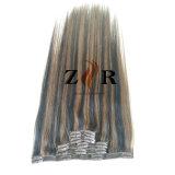 Grampo de cabelo indiano desenhado dobro da cor do piano na extensão do cabelo humano