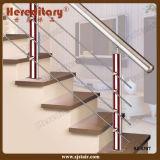 Balaustrada do aço inoxidável e da madeira nos trilhos da escada (SJ-S307)