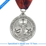 Medaglia d'argento su ordinazione del metallo di sport calcio/di gioco del calcio