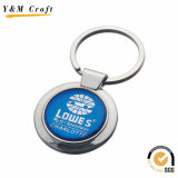 Anello chiave del metallo su ordinazione promozionale più poco costoso con il marchio a resina epossidica