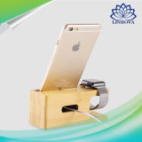 Montre Stand, Bamboo Wood Charging Dock Charge Station Socket Stock Cradle Phone Holder pour Iwatch iPhone