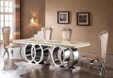 Tabella pranzante lunga della sala da pranzo di disegno speciale moderno dell'acciaio inossidabile (A6688-1)