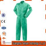 Combinaison 100% courte unisexe verte de chemise de coton pour l'ouvrier