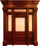 Puerta doble de madera sólida con el vidrio (DS-009)