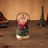 Flor preservada en el vidrio para la decoración de la boda